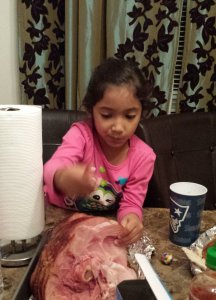 Alaethia sneaking some ham after everyone cleared the table LOL