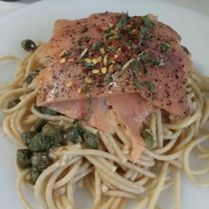 Pasta & Salmon in Lemon-Caper Sauce