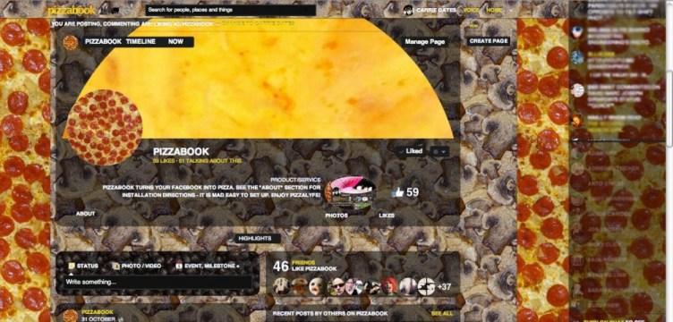 Pizzabook facebook page - October 2012