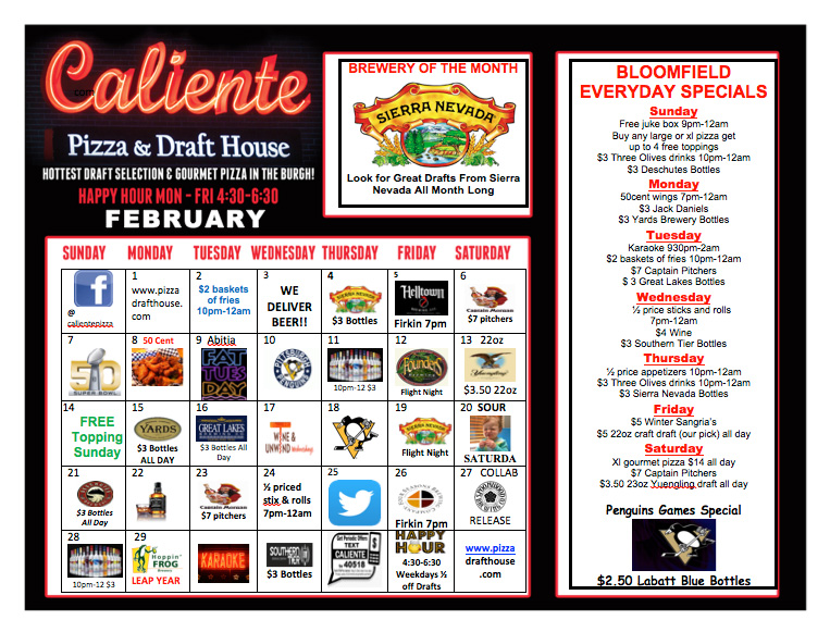 Feb Specials at Caliente