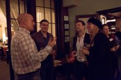 """from left: Will Pollock, Lucas Schneider, Rob O'Connor & Alexis Vear at the """"Pizza for Good"""" book-release party"""