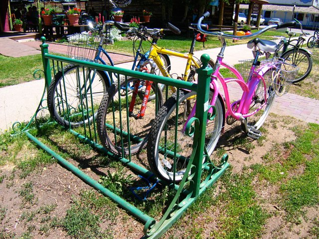 In the summer, Crested Butte is a very bike-centric town, with bike racks in front of every store and home.