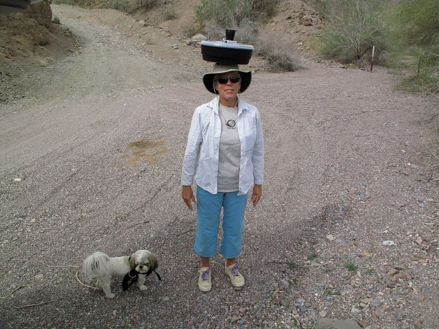 Mr. Bill and Carol, on the way to our Indian Pass geocache (the oldest geocache in Imperial County).
