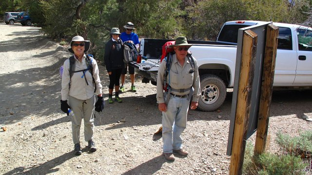 Carol, Loren, Tito and Dave at Telescope Peak trailhead on Mahogany Flats (8,200').