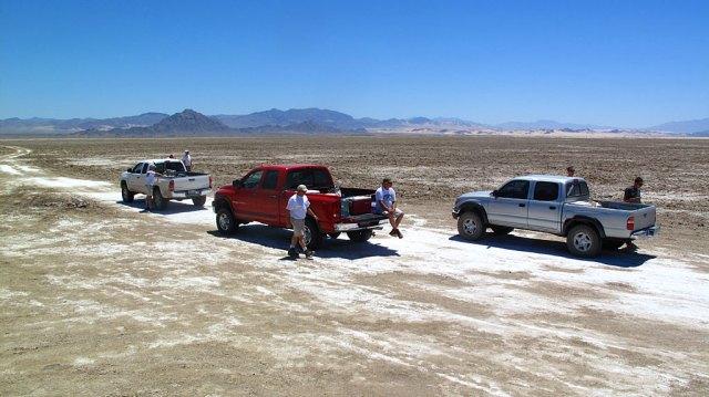 Crossing Soda Dry Lake.