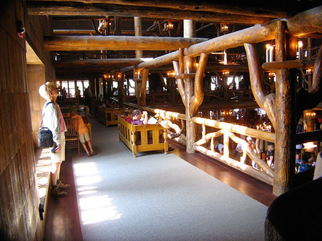 The interior of The Inn contains four stories of balconies, but only the bottom two are open to the public.