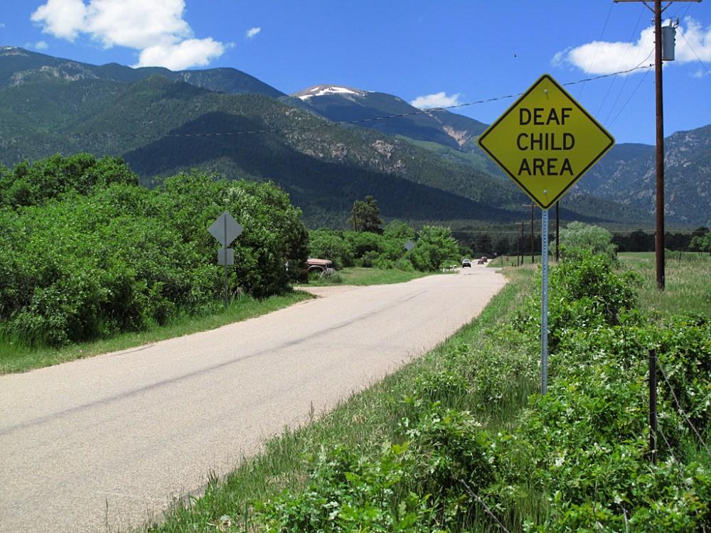 Road sign, Rye, Colorado.