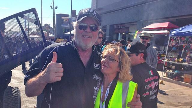 John Langley, COPS Racing Team Owner, with the world-famous Baja Kat.