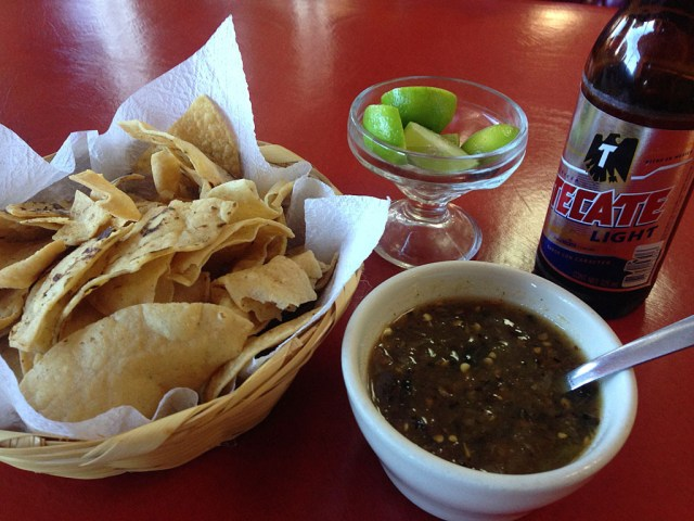 Pre-dinner chips and salsa and beer. Note to people in the mid-west: this is what chips are supposed to look like.