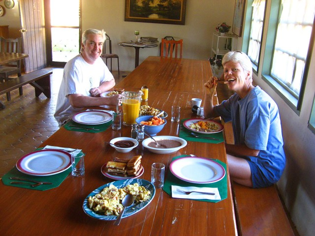 Breakfast comes with the room at Meling Ranch - everything on our table was grown locally.