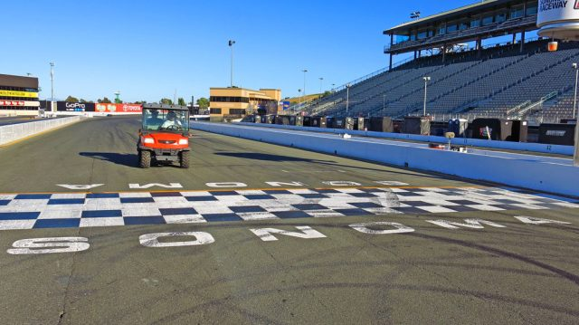 Steve and I got the tour of the track by Jai in his Kubota. The NASCAR Sprint Cup guys were running a lap in under two minutes, our time was slightly longer.