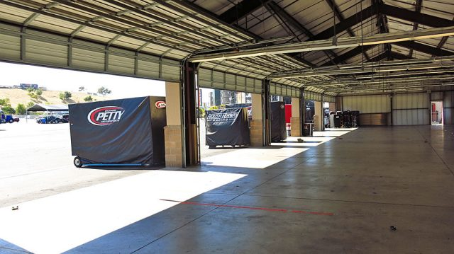 The calm before the storm inside the garages at Sonoma.