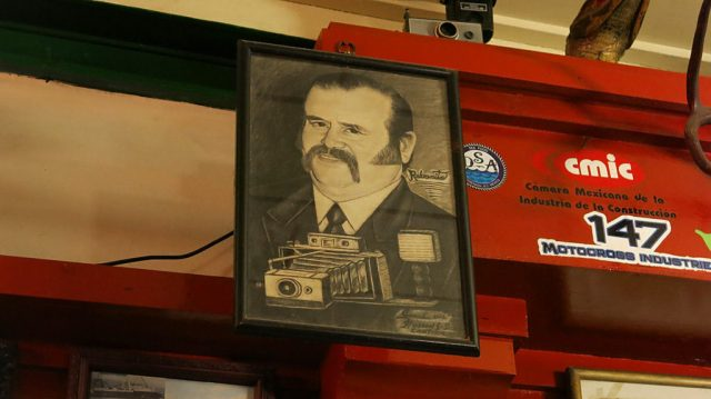 """A bonus photo taken inside Johann Hussong's Cantina in Ensenada (est. 1892) of """"the guy with the camera."""""""