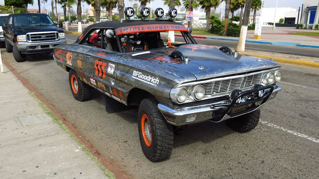 "Rene Aguirre was piloting Triple Nickel Racing's El ""Galaxia de la Baja,"" a 1964 Ford Galaxie competing in the Vintage Production Cars Class. He saw the finish in San Juan."
