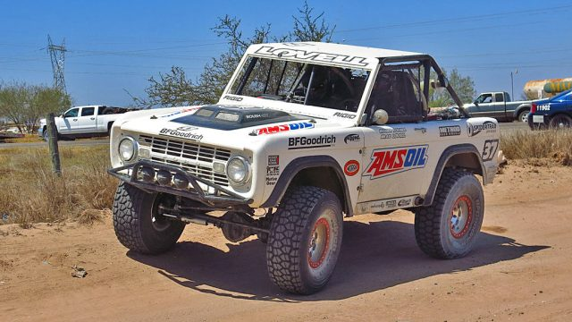Waiting for his time to start, Roger (aka Royer) Lovell is running his 1968 Ford Bronco in the Vintage Short Wheelbase 4x4 Class.