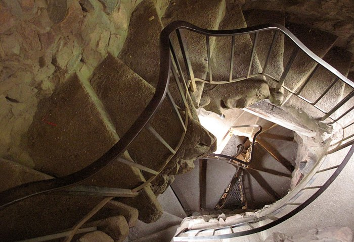 Stairs in the castle are plentiful and Dr. Seuss-esque. Take your choice of stairs made of rock, steel or poured, but in all cases, not designed for the portly or claustrophobic.