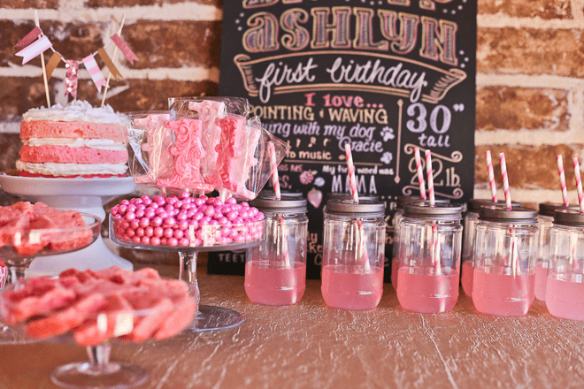 Sweet Pink  Gold Ombre Birthday Party  Pizzazzerie