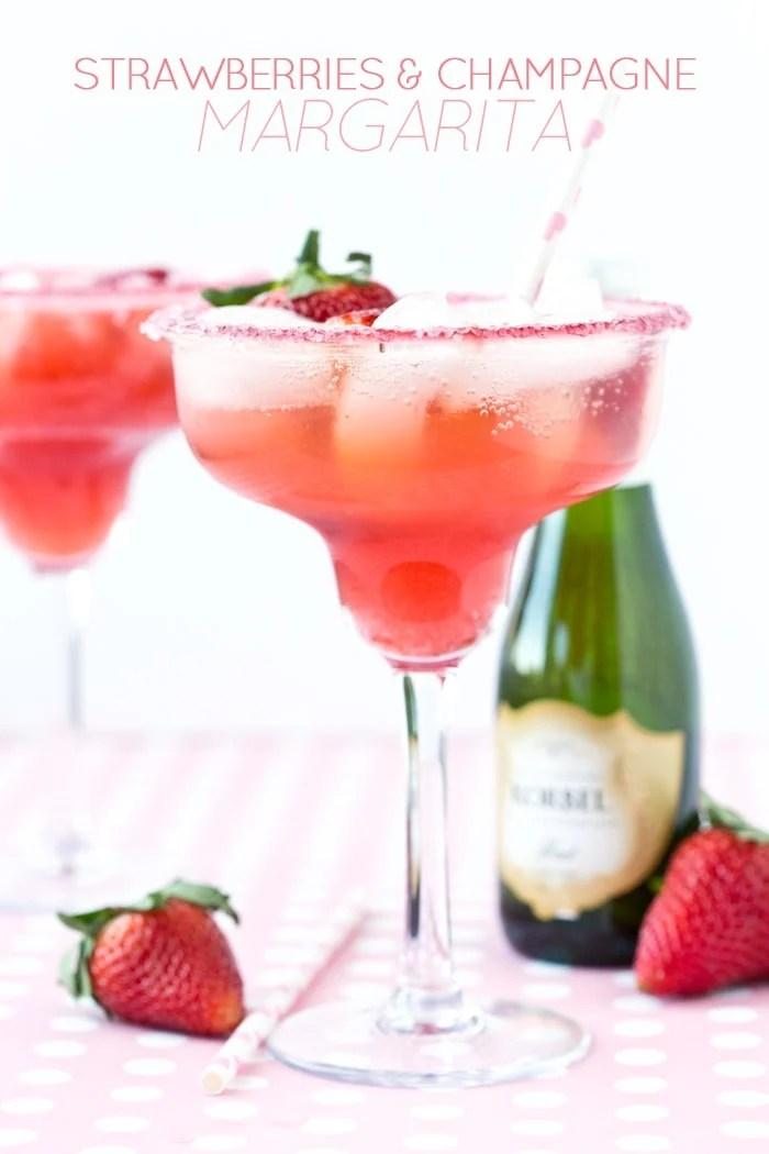 Valentine's Day Margarita - Strawberries & Champagne Margarita! Pizzazzerie.com