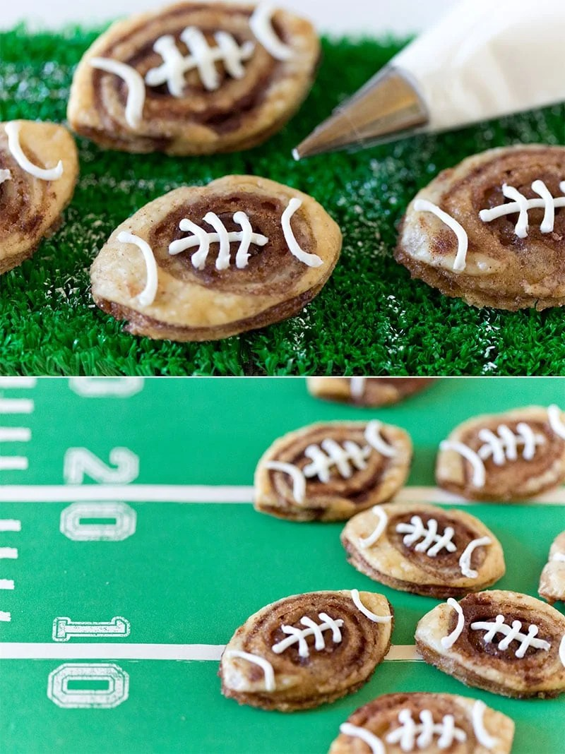 Up your tailgate treat game by making these addictive football cinnamon roll cookies! So easy and so delicious!