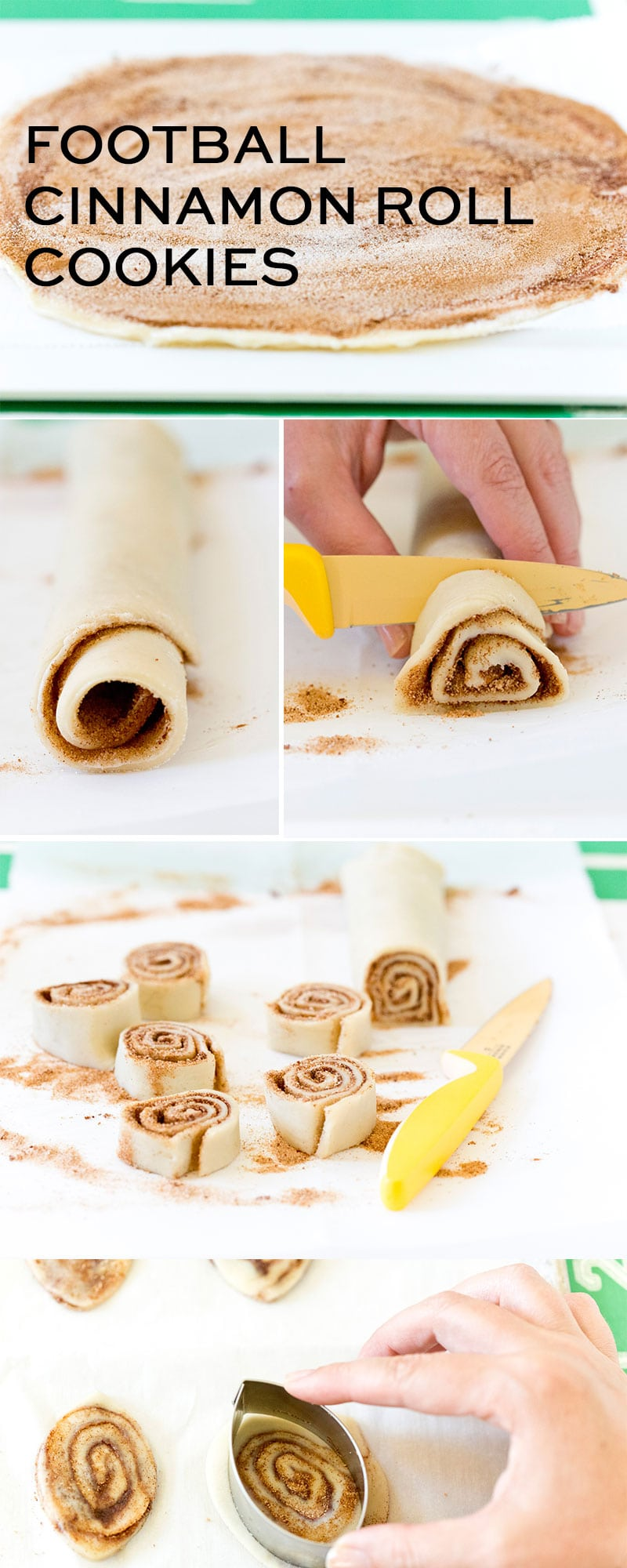 Step-By-Step Instructions for making delicious Football Cookies, that taste like Cinnamon Rolls, the perfect treat for tailgates!