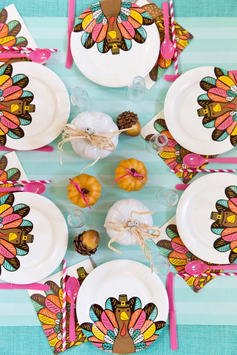 Bright  Colorful Thanksgiving Kids Table  Pizzazzerie