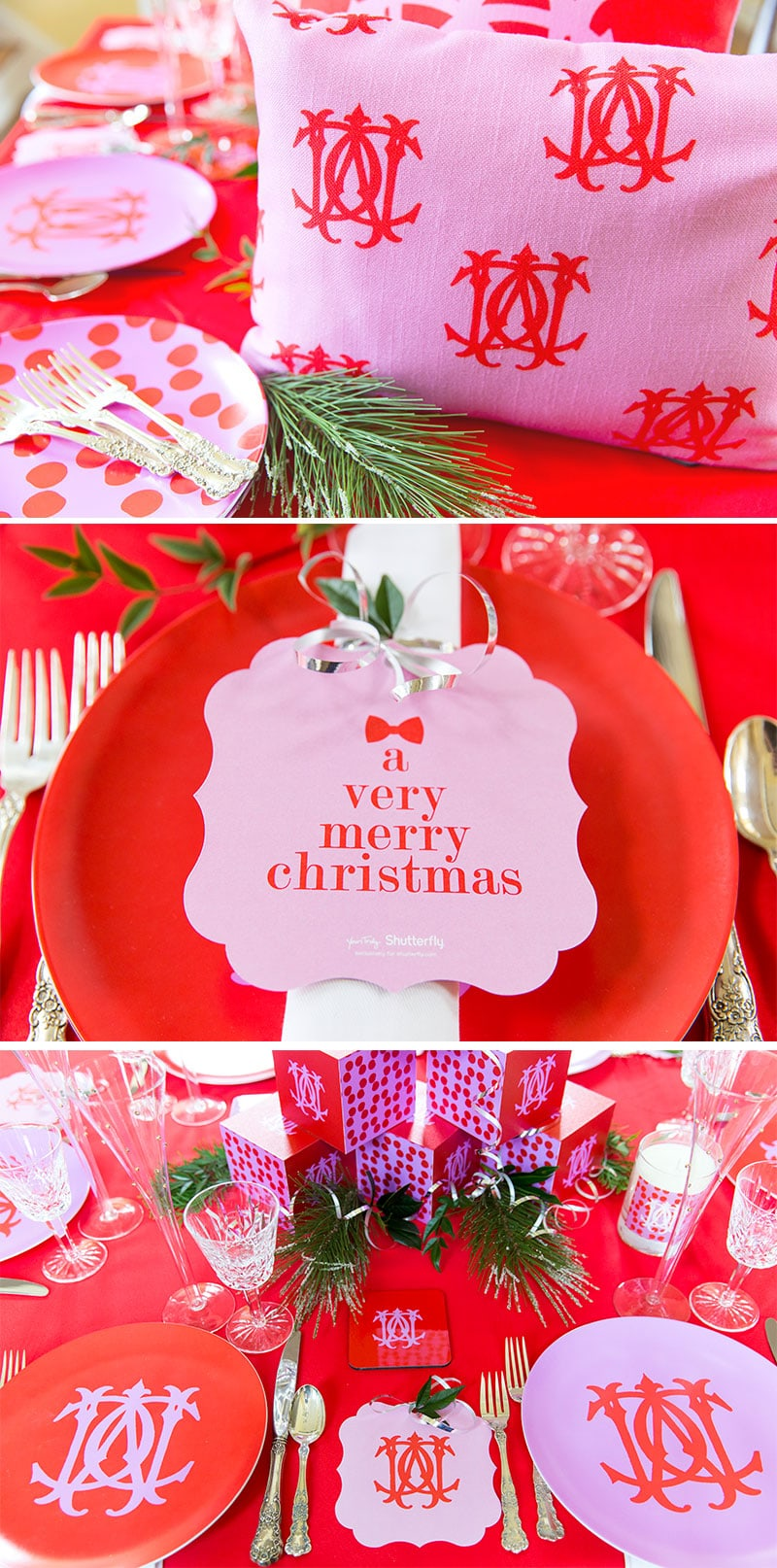 Pink Amp Red Monogram Christmas Tablescape Pizzazzerie