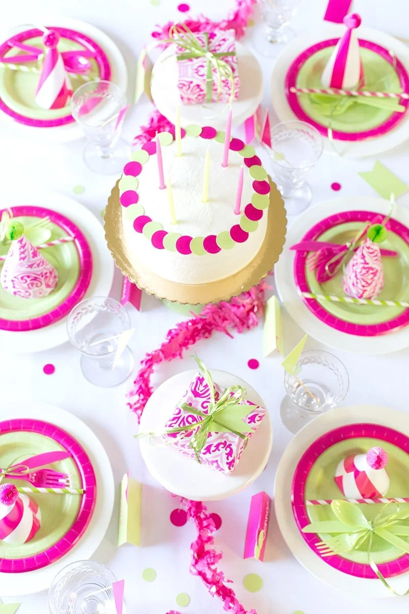 Pink Amp Green Birthday Party Cheeky Style Pizzazzerie