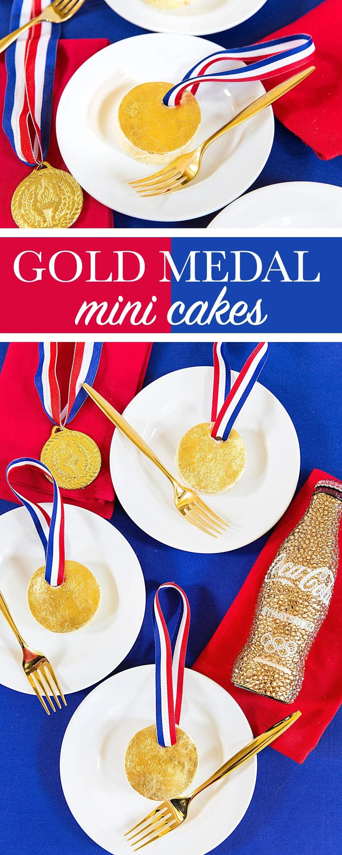 Mini Gold Medal Cakes - Recipe & DIY for Olympics!
