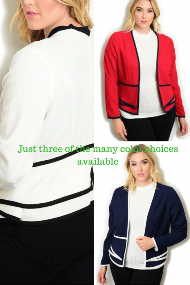 jackets for the curvy lady, plus size jackets, jackets for work in plus size