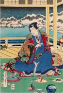 Toyohara-Kunichika-Genji-ammira-la-neve-dal-balcone