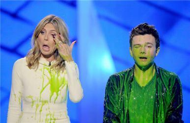 """Heidi Klum og Chris Colfer úr Glee voru """"slímuð"""""""