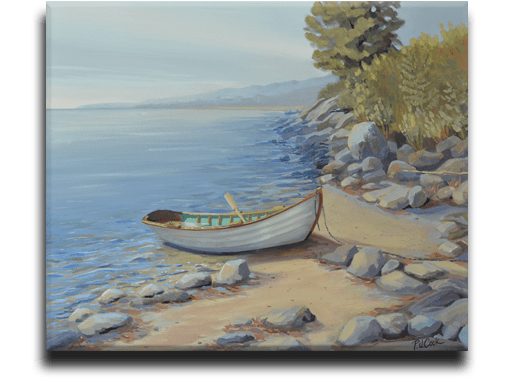 oil painting of dory on beach by PJ Cook.