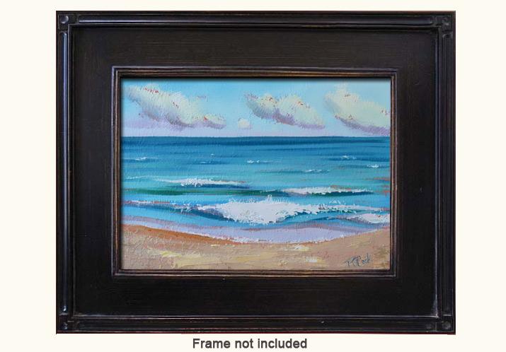 ocean waves, oil on panel, 5x7 ft lauderdale beach, plein air painting