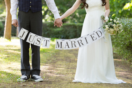 """just married"" banner held by newlyweds. Marital agreements"