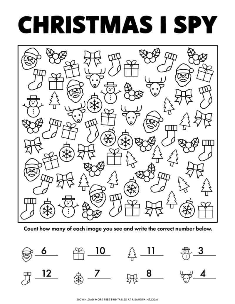 hight resolution of Free Printable Christmas I Spy Game - Version 2 - Pjs and Paint