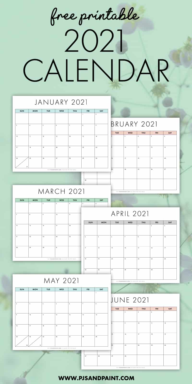 Download a free, printable calendar for 2021 to keep you organized in style. Free Printable 2021 Calendar - Sunday Start - Pjs and Paint