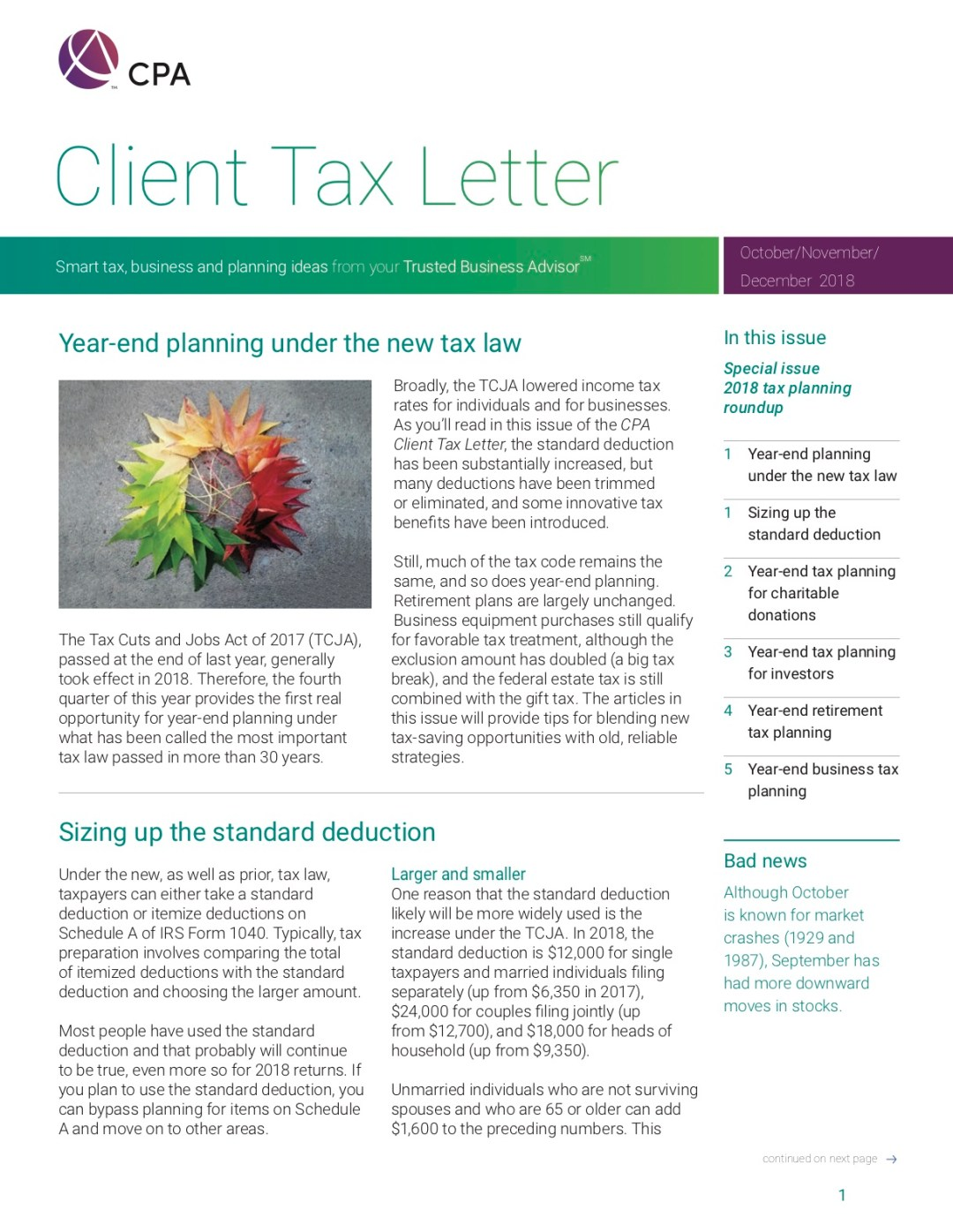 tax planning, standard deduction, charitable donations
