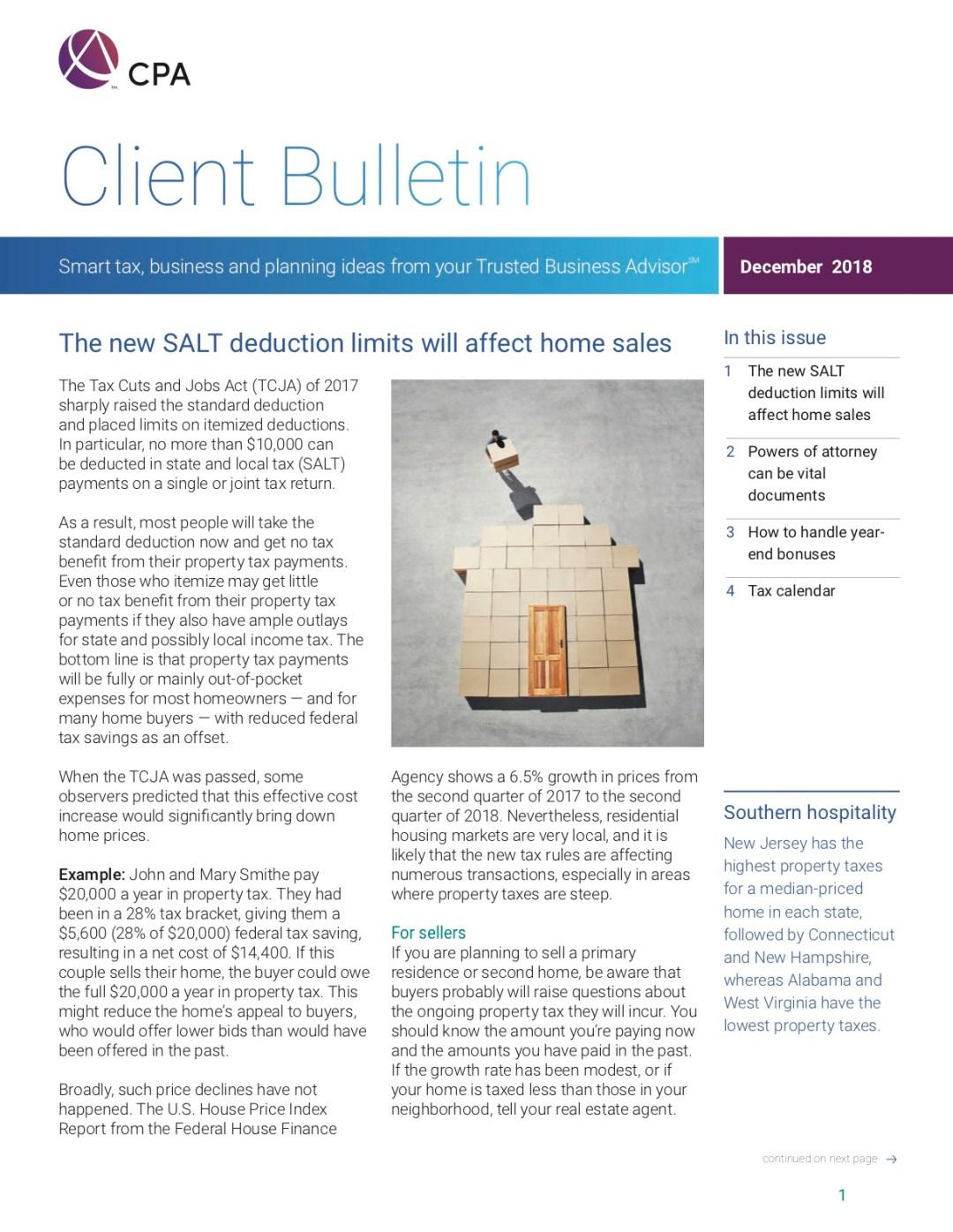 new SALT deduction limits, power of attorney, year-end bonuses, tax calendar