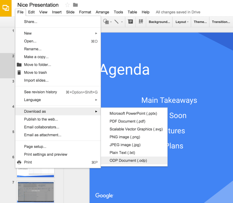 google slides for making slide presentations for websites