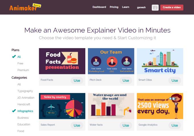 developing infographic based 2D explainer videos on animaker portal
