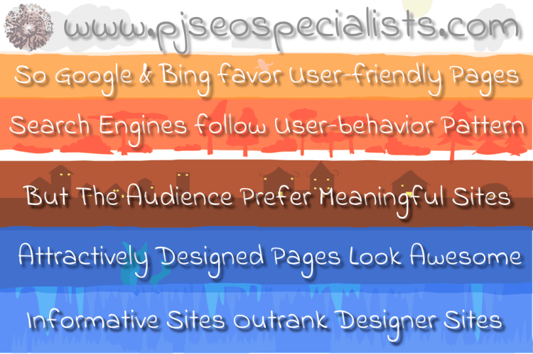 meaningful web pages outrank designer portals on google and bing