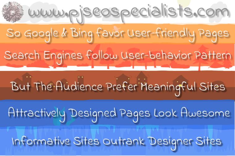 meaningful websites outrank designer websites on google and bing