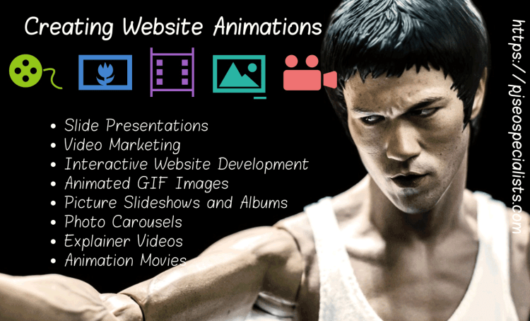 web page designers developing pages with explainer slides and video animations