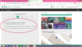 bing places loads more components on its online business maps portal