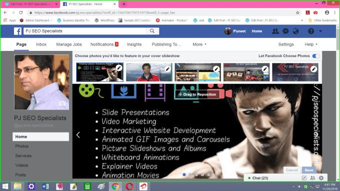 design a header slider having either one commercial video or else five images