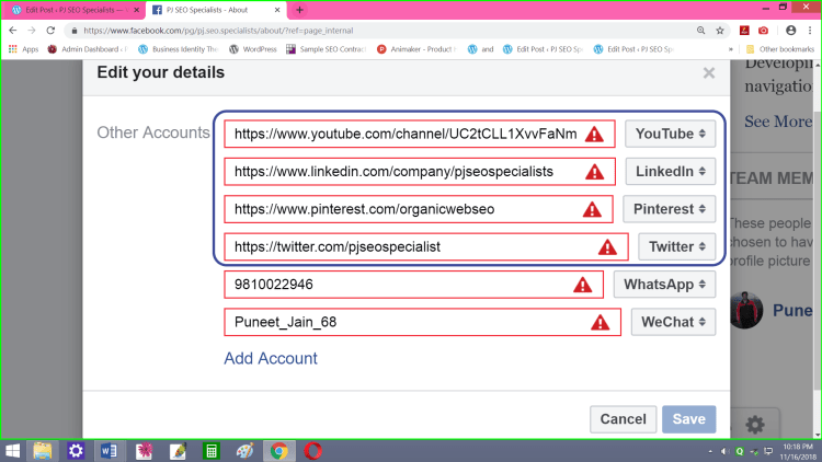 old settings allowing entering full url for linking to other social networks