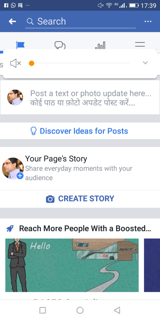 upload a video or image by phone or a tablet as your story on facebook business page