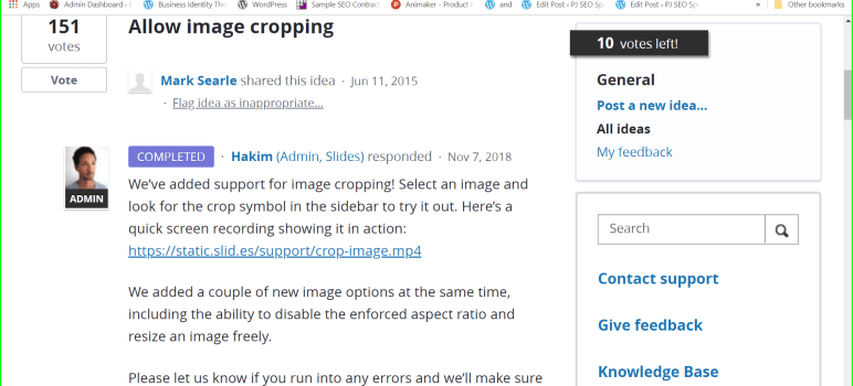 latest highlights at slides.com are the option for cropping and resizing pictures