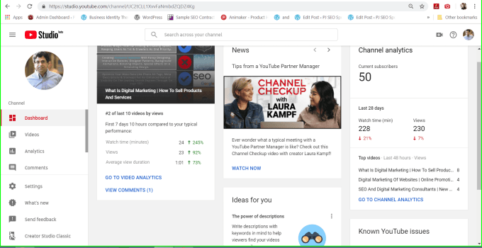 youtube studio beta channel dashboard for marketing your youtube video channel