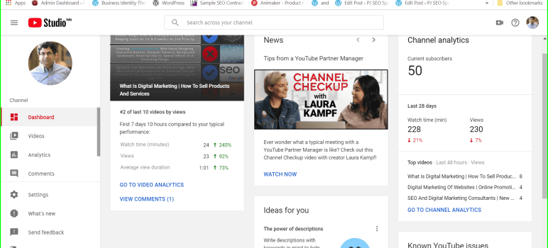 youtube studio beta dashboard presenting ideas and guides and news